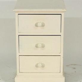 40X40Cm White Painted 3 Drawer B/Side Cabinet with Knobs