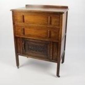 Dark Oak 2 Drawer 1 Carved Bottom Door Bedroom Chest