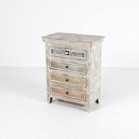 Limed Wood Multi Colour 4 Draw Ornate Top Handle Chest Of Drawers