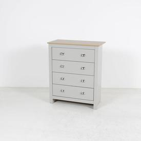 Oak Top & Grey 4 Drawer Cup Handle Chest