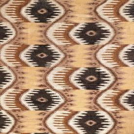 "2 Tone Brown & Cream Flat Handknotted ""Ikat"" Rug"