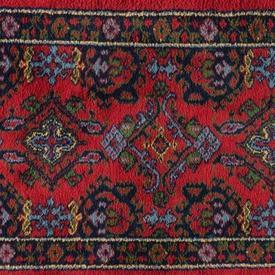 Red, Green & Blue Pattern Rug with Fringed Edge