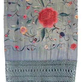 """Shawl 7'3"""" x 7'3"""" Faded Blue / Multi Floral Silk on Silk Emb / Fringe"""