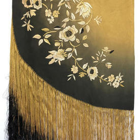"Circ. Piano Shawl 7'8"" x 7'8"" Dark Khaki / Mustard Ombre Silk / Floral Emb / Long Fringe"
