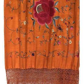 Shawl 8' x 8' Bright Orange Silk Crepe / Floral Emb / Long Fringe