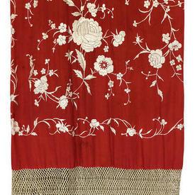 Shawl 8' x 8' Bright Red / OffiWhite Floral Silk on Silk Emb / Fringe