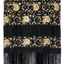 """Shawl 9'6"""" x 9'6"""" Black / Ecru Geo Floral Silk on Silk Emb / Fringe"""