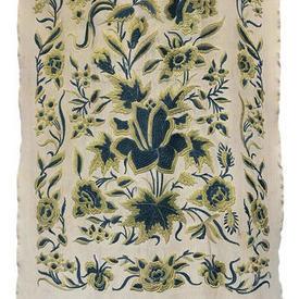 "Scarf 6'6"" x 1'6"" Ivory / Teal Floral Silk on Silk Emb / Fringe"