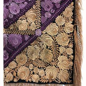 "Shawl 4' x 4'8"" Purple / Pale Peach Floral Silk Floss Emb on Silk / Fringe"