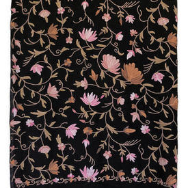 """Shawl 6'6"""" x 6'2"""" Black / Rose Floral Crewel Cashmere / Fringe"""
