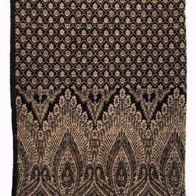 "Shawl 6'7"" x 3' Black / Pale Brown Geo Paisley Wool / Fringe"