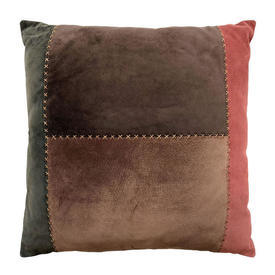 """Cushion 17"""" x 17"""" Brown / Green / Rust Suede Patchwork"""
