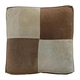 """Box Cushion 16"""" x 16"""" x 2"""" Light Brown / Sand Suede Squares Patchwork"""