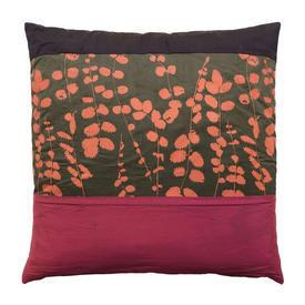 "Cushion 15"" x 15"" Khaki / Orange / Pink Leaf Print Silk Banded"