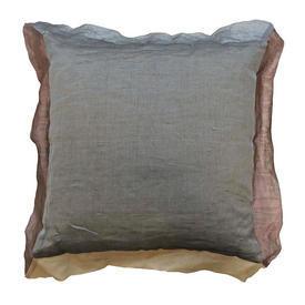 "Cushion 16"" x 16"" Grey / Dusky Mauve Metallic Organza / Oxford"