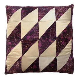 "Cushion 19"" x 19"" Plum Velvet / Cream Silk Patchwork"