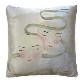 "Cushion 16"" x 16"" Ivory / Green Faces Screen-print Satin"