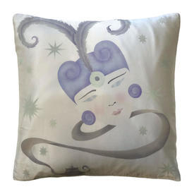 """Cushion 17"""" x 17"""" Flapper Girl Watercolour Silk"""