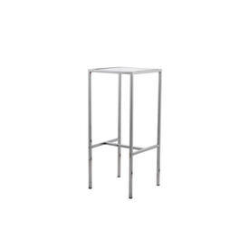 Medium Square Chrome Pedestal with Glass Top