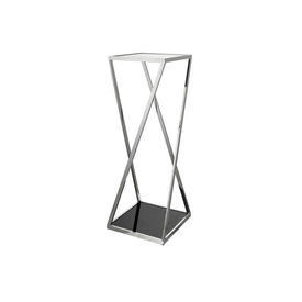 Chrome Column Pedestal with Black Glass Top & Base