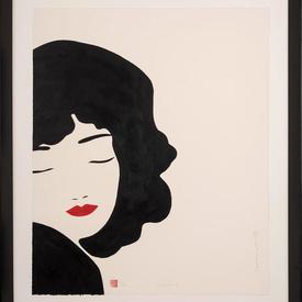 Black Framed Eyes Shut Black Hair Lady with Red Lips (90Cm X 70Cm)