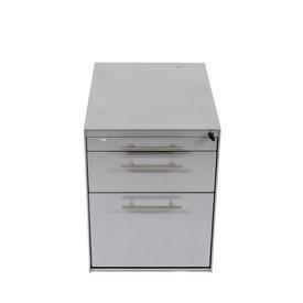 Silverline 3 Drawer Grey Metal/Chrome Handle Desk Pedestal