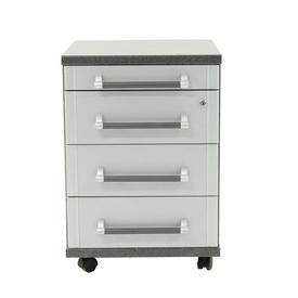 Mottled Grey Silver Handle 4 Drawer Mkb Desk Pedestal