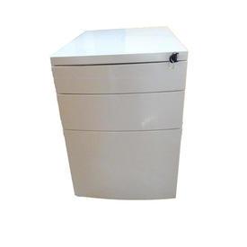 White Metal Co 3 Drawer Bow Front Desk Pedestal