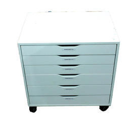 White 6 Drawer Multi- Drawer, Low Wide  Pedestal Size
