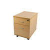 Ah Beech 2 Drawer Desk Ped with Rounded Silver Hanlde