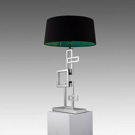 "Chrome Abstract ""Deandre"" Squares Table Lamp (Shade Not included)"