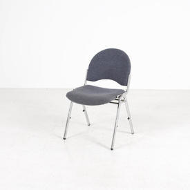 B Ice Blue And Chrome Stacking Chair