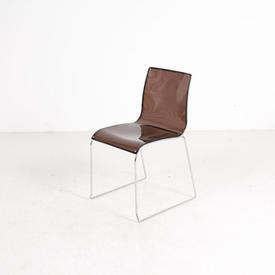 Caligaris Smoked Perspex & Chrome Occasional Dining Chair