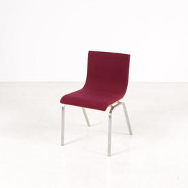 B Viz Plum Wood & Chrome Stacking Chair