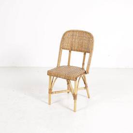 Bamboo Frame Woven Wicker Seat & Back Cafe Chair