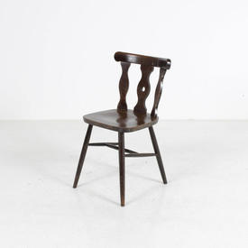 Dk.Oak Shaped Lath Shaped Centre Bar Back Pub Chair