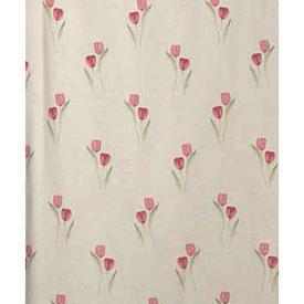 """Pair Drapes 7'6"""" x 13' Cream / Dark Pink Tulips Polycotton"""