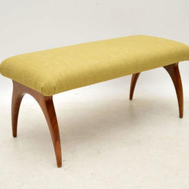Vintage Yellow Fabric Walnut Leg Foot Stool