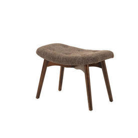 Brown Tweed Buttoned Retro Foot Stool on Splay Legs