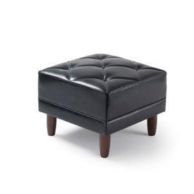 Black Leather Square Buttoned Quilted Footstool Mpf
