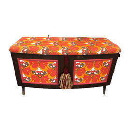 Dark Sapele Vintage 60'S Orange Pattern Brass Foot Ottoman