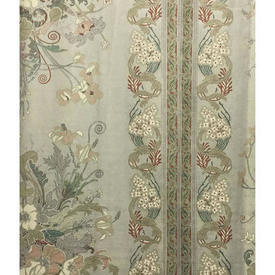 "Pair Drapes 9'9"" x 6' Sage Large Floral Bouquet Stripe Sateen"