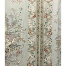 Pair Drapes 8' x 6' Silver Floral Scroll Stripe Sateen