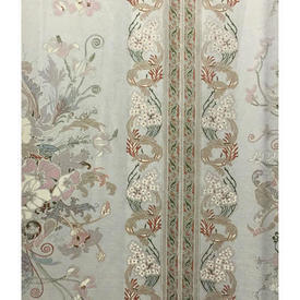 Pair Drapes 12' x 6' Silver Floral Scroll Stripe Sateen