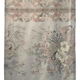Bed Cover (K) Silver Floral Scroll Stripe Sateen