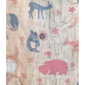 """Pair Drapes 4'6"""" x 6' Pink Faded Animals Print (IL)"""