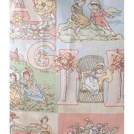 Pair Drapes 5' x 4' Rose / Mint Alphabet & Children Print