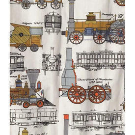 Pair Drapes 6' x 4' Grey / Tan Steam Engines Print