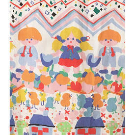 """Pair Drapes 6'9"""" x 4' Multi Abstract Children/Chicks/Hearts Print"""