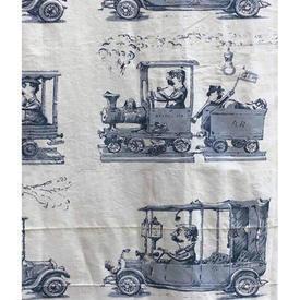 """Pair Drapes 7' x 4'9"""" / Airforce Vintage Cars Print Cotton"""
